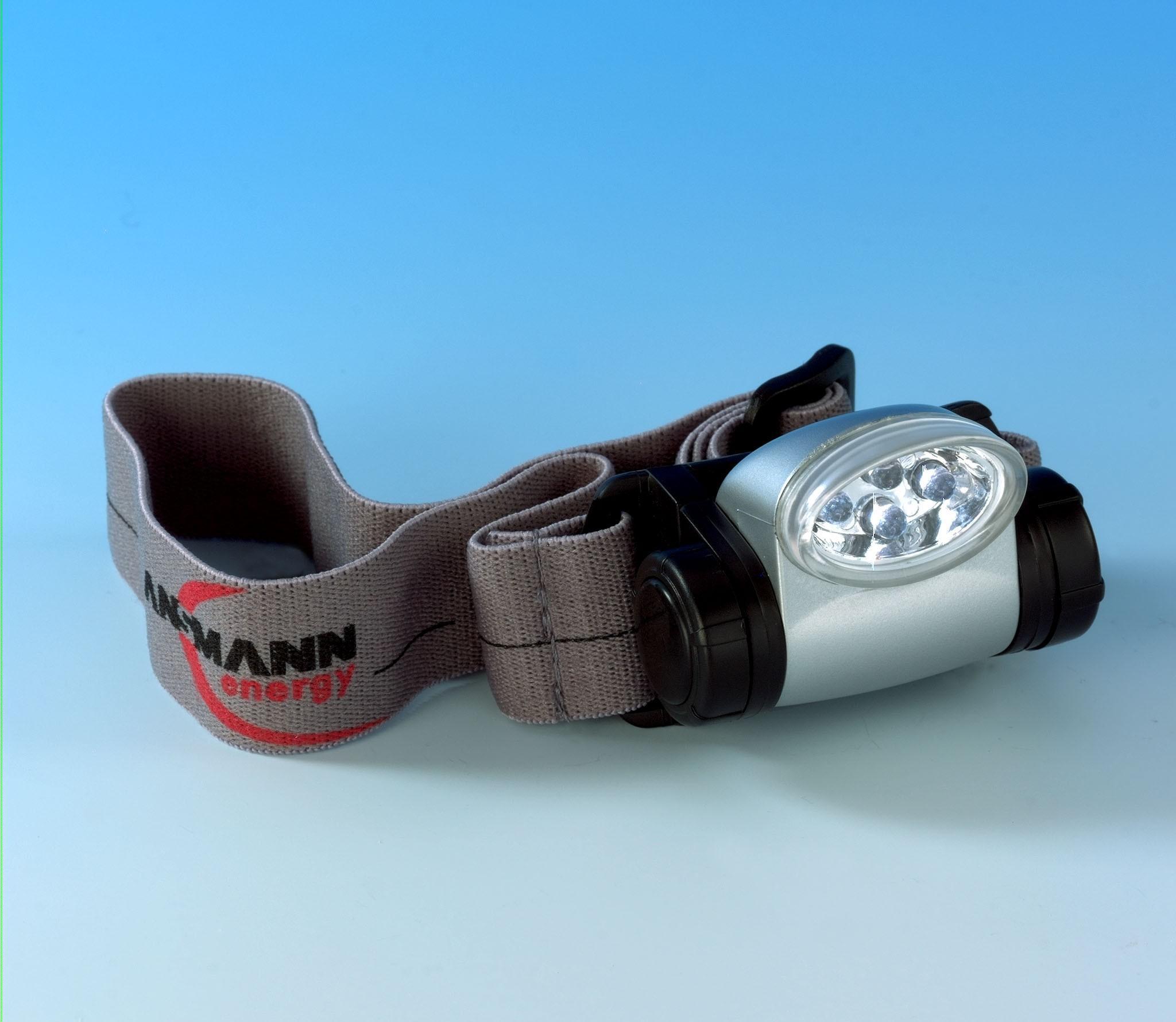 Фонарь ANSMANN 5819043: SL4/CR HeadLight, головной, серый ремешок