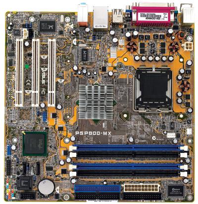 ASUS P5P800-MX: i865gv, D-sub, snd, LAN, µATX, oem